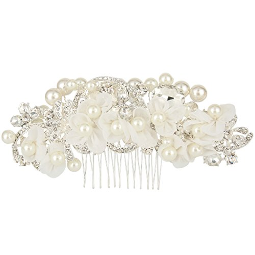 EVER FAITH® Wedding Lace Flower Clear Crystal Ivory-color Simulated Pearl Hair Comb