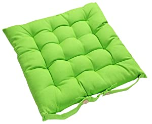 Homescapes - Seat Pad - Lime Green - 40 x 40 cm - Indoor - Garden - Dining - Chair Cushion with a Button Tie Handle to fix to Chair - 100% Cotton - Well Filled - Easy Care - Washable At Home