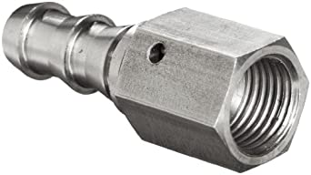 "Brennan 2111-06-06-SS, Stainless Steel JIC Tube Fitting, 06PL-06FJS Adapter, 3/8"" Tube OD x 3/8"" Hose ID"
