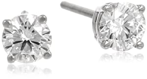 IGI Certified Platinum 4-Prong Diamond Stud Earrings (3/4 cttw, G-H Color, VS2 Clarity)