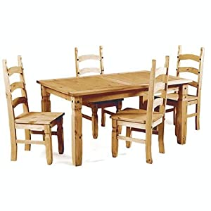 WorldStores Kaden Pine Dining Table & 4 Chairs Set       Customer reviews and more information
