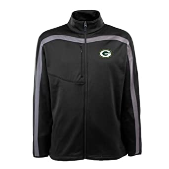 NFL Men's Green Bay Packers Full Zip Viper Fleece Jacket (Black/Gunmetal, Small)