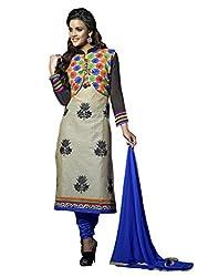 Beige Cotton Silk Churidar Suit