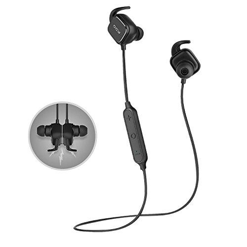QCY QY12 Bluetooth イヤホン 4.1 マグネットスイッチ Apt-X技術搭載 CVC6.0 ノイズ低減仕組み 高音質 (ブラック)