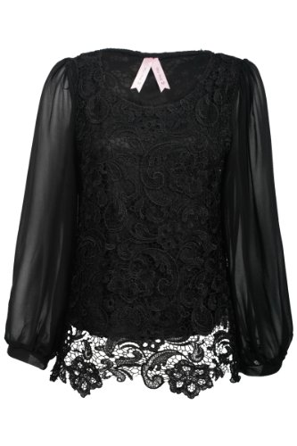 40O New Womens Black Floral Lace Chiffon Ladies Long Sleeved Blouse Top Size 10