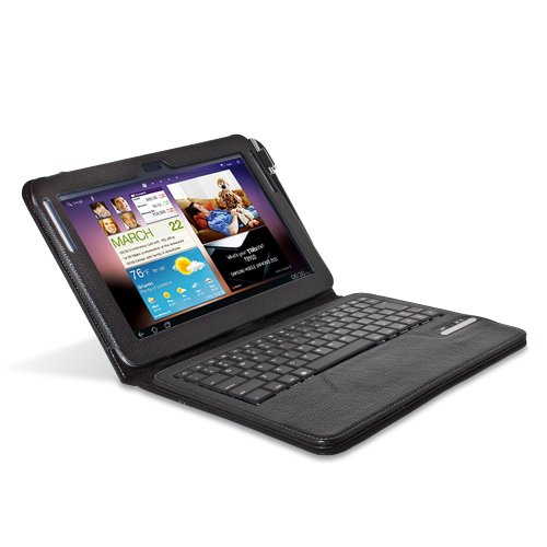 Greatshield 2!Go Series Detachable Wireless Bluetooth Keyboard Case With Stand For Samsung Galaxy Note 10.1 (Black Leather)