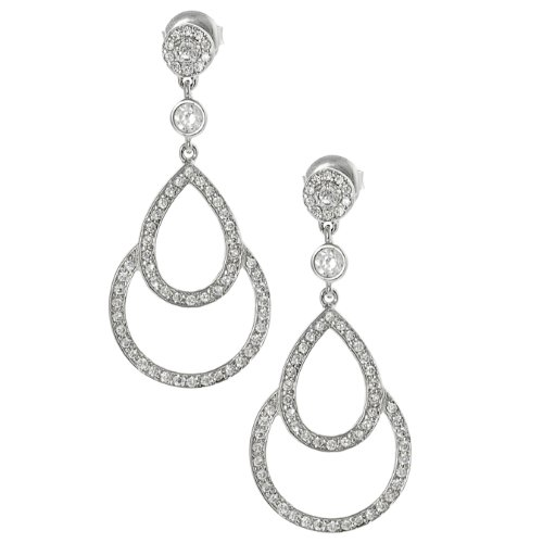 Tressa Silvertone Pave-set Cubic Zirconia Teardrop Dangle Earrings