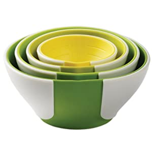 Chef'n SleekStor Pinch Pour Prep Bowls, Tonal Color Set