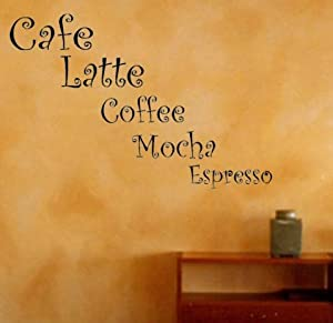 """COFFEE KITCHEN Decal Wall Vinyl Lettering Art quote sticker Large 30"""" (Come With free glowindark switchplate decal) by stickerciti"""