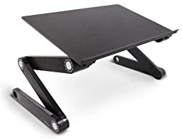 Lavolta Ergonomic Adjustable Laptop Table Aluminium Notebook Desk Portable Stand Tray with CPU Cooling Pad - Black