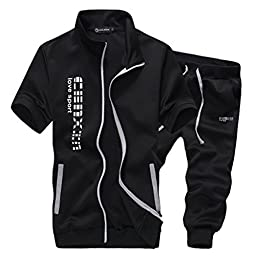 Magiftbox Men\'s Zip Up Jogging Shorts & Tees Sweatsuits