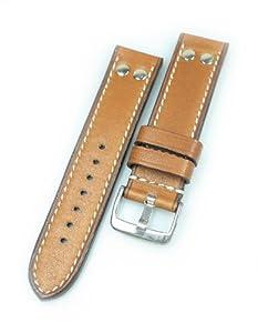 RIOS1931 Vintage 194 - Correa para reloj (aspecto usado, pasador de 22 mm), color marrón de RIOS 1931