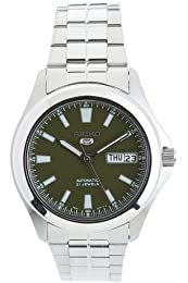 Seiko Men's Automatic Watch with Green Analogue Dial and Silver Stainless Steel Bracelet SNKL05