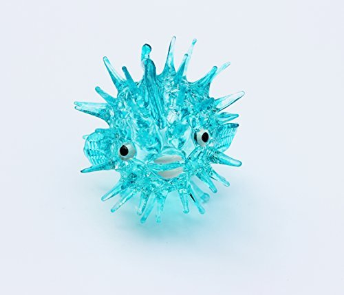 Aquarium MINIATURE HAND BLOWN Art GLASS Blue Puffer Fish FIGURINE Collection (Aquarium Fish Chart compare prices)