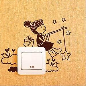 Vinilo decorativo pegatina pared, cristal, puerta (Varios colores a elegir)-chica pescando estrella   Comentarios y más información
