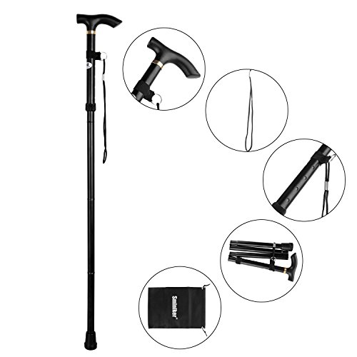 Sminiker Folding Walking Canes with Carrying Bag Lightweight Adjustable Canes and Walking Sticks for Men and Women with Wrist Strap Aluminum Alloy Shaft