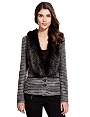 Per Una Metallic Effect Tweed Jacket with Wool