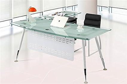 Set Mesa de oficina mueble ala a derecha cristal blanco 200x85 cm