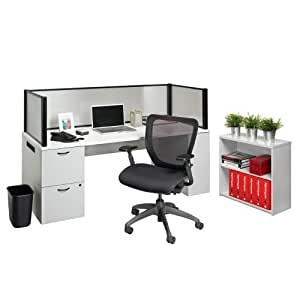 Nightingale Chairs 910 Office In A Box Desk With Privacy Screen And Bookcase Office
