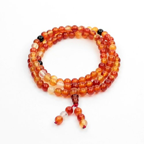 O-stone 2a Red Agate Mala with 108 Prayer Beads 6mm Meditation Mala Grounding Stone Protection