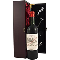 Chateau La Tour de Mons Margaux 1966 Vintage Wine presented in a silk lined wooden box with four wine accessories