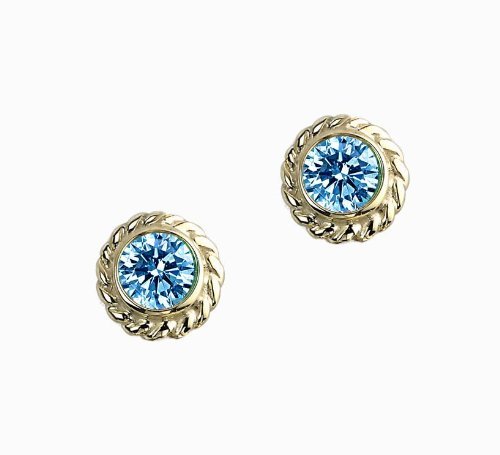 Color Story Strand Collection Fancy Blue Diamond Studs 0.32Ct In 14k Yellow Gold