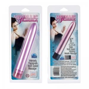 Metallic Shimmers 6 inch Vibrator - Pink (Package Of 6) Half Case