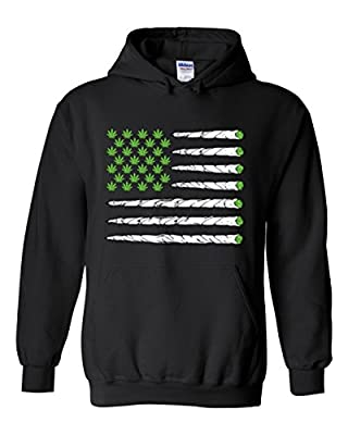 Marijuana Flag Unisex Hoodie Cool Funny Weed Smoker Hooded Pullovers