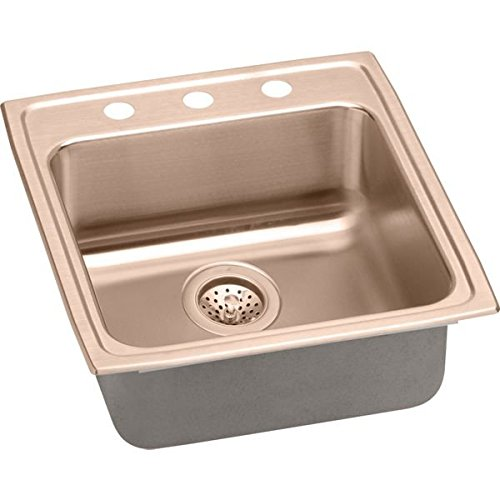 Elkao|#Elkay LRAD2022502-CU 18 Gauge Cuverro Antimicrobial copper 19.5 Inch x 22 Inch x 5 Inch single Bowl Top Mount Sink 2 Hole,