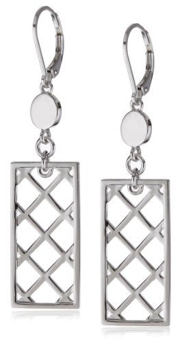 ELLE Jewelry Checkered Rectangle Sterling Silver Earrings