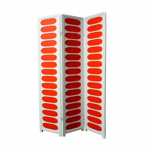 ORE International 3-Panel White and Orange Wooden Screen Room Divider