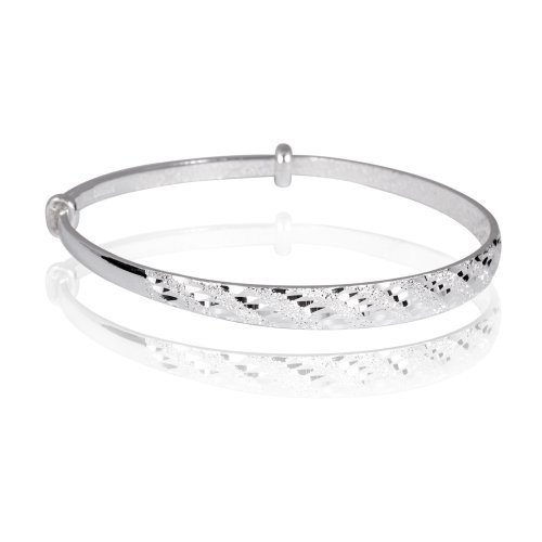 Fashion Plaza Women's 990 Sterling Silver Filigree Floral Carved Inside with