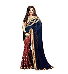 Bikaw Embroidered Navy Georgette Party Wear Saree - BT-1185-A4