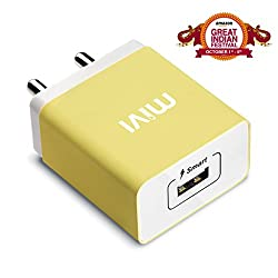 Mivi Smart Charge 2.1A Wall Charger with Auto­Detect Technology for iPhone, iPad, Samsung Galaxy, HTC, Nexus, Moto, OnePlus, Xiaomi, Bluetooth Speakers, Power Banks, Cameras and More (Yellow)