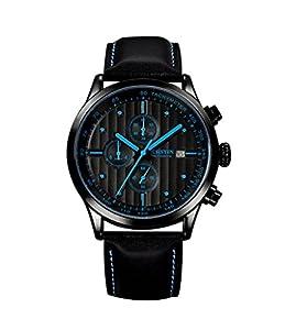 OCHSTIN 42mm Black Case Men Sport Watches Chronograph Date Fashion Casual Watch Leather Waterproof