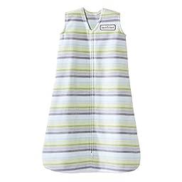 HALO Sleepsack Fleece Wearable Blanket, Green/Blue/Grey Stripe, Medium