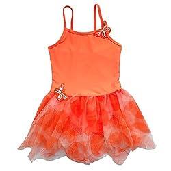 BHL Girls Dance Dress 3-8 Years Butterfly (5-6, Orange)