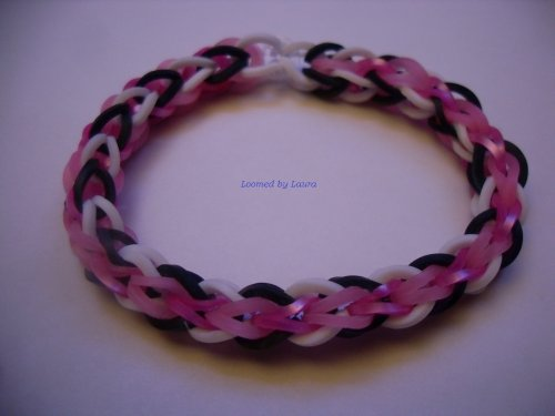 Loomed By Laura Bracelet, Cylinder Style, Pink Black And White - Quality Loomwear, All-Original!