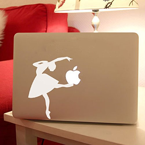 Dancer Sticker Ballerina laptop Decal For Macbook Vinyl Removable Art Skin(White,m)