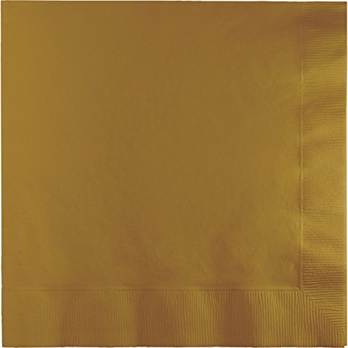 Creative Converting Touch of Color 2-Ply 50 Count Paper Lunch Napkins, Glittering Gold