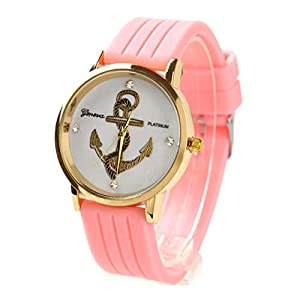 Willtoo® Unisex Anchors Silicone Analog Quartz Wrist Watch Pink