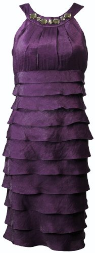 London Times Women's Embellished Shimmer Shutter Dress 6P Currant [Apparel]