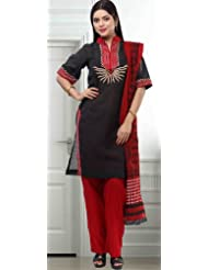 Utsav Fashion Women's Black Cotton Salwar Kameez-XX-Small