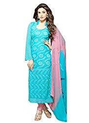 Adorn Fashion New Design Of Sky Blue Chiffon Embroidery Dress Material