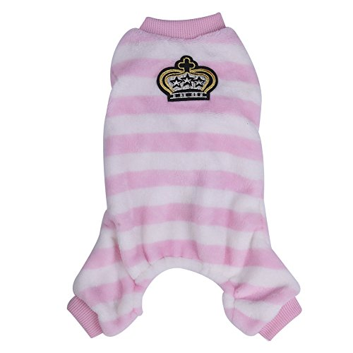 Pet Warm Dog Puppy Pajamas with Stripe Design Winter PJS Coat Jumpsuit for Small and Medium Sized Dog Puppy Cat Kitten-XS/S/M/L/XL (Dog Jumpsuit Winter With Feet compare prices)