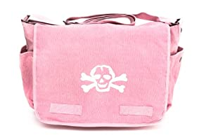 Heavyweight Messenger Diaper Bag in Pink with White Skull by Crazy Baby Clothing