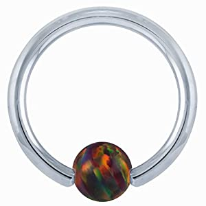 "18G 3/8"" Red Opal 14kt White Gold Captive Bead Ring- 4mm Ball"