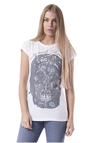 ffomo quinn totenkopf print gerollt sleeve t shirt 8 white. Black Bedroom Furniture Sets. Home Design Ideas