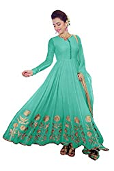 Clickedia Women's Faux Georgette Pista Green Anarkali Salwar Suit Dress Material
