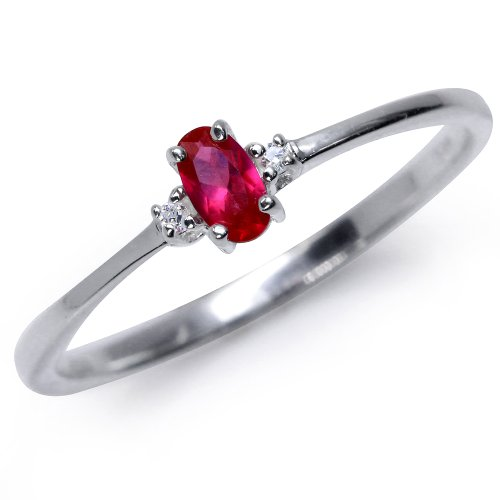 Simulated Ruby & White CZ 925 Sterling Silver Engagement Ring Size 7